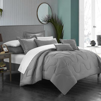 Chic Home 11 Piece Dinarelle Bedding Basics, Down Alternative Solid color complete bedding ensemble, Full/Queen, Silver
