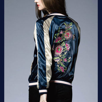 2016 Heavy Embroidery Woman Bomber Jackets Fashion Flowers Pattern Quality Ladies Baseball Uniform Block Color Woman Jacket Coat