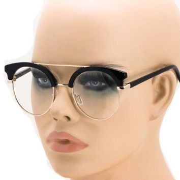 Black Gold Vintage Inspired 80s Clubmaster Clear Lens Hipster Nerd Glasses NEW