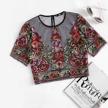 Flower Embroidery Mesh Blouse Vintage