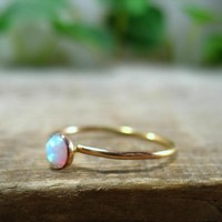 Stacking Ring Gold White Fire Opal