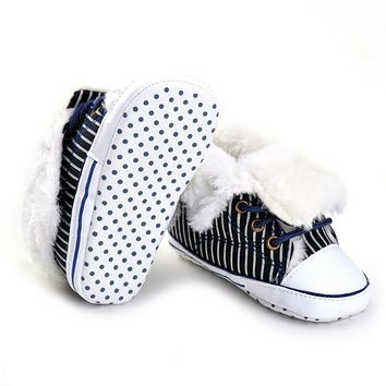 Baby Shoes Winter Warm Newborn Boy Girl First Walkers Shoes Infant Canvas Boots Black and White Strip
