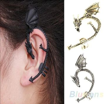 Hot Selling Retro Vintage Gothic Rock Punk Twine Dragon Shape Ear Cuff Clip Earring Earrings Women Men Sale 02G8