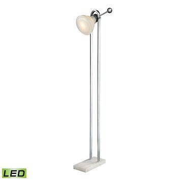 Vintage Ball Handle Adjustable LED Floor Lamp in Polished Nickel