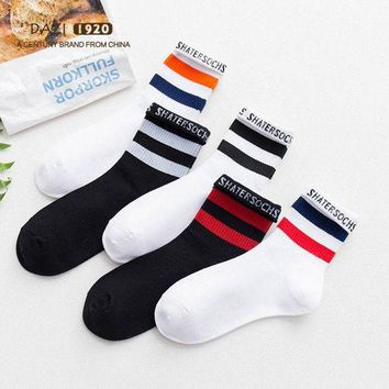 DCCK7BE 5Pairs College Striped Letter Student Socks New Fashion Tide Women Tube Socks