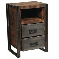 Moti Furniture Addison Reclaimed Wood and Metal 2 Drawer Cabinet/Night Stand