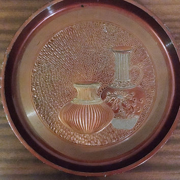 Vintage 1960s Mid Century Round Cocktail Lacquered Tray with Pottery Pattern / Retro Serving Tray / Made in Japan