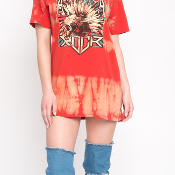 TIE DYE ROCK AND ROLL OVERSIZE SHIRT