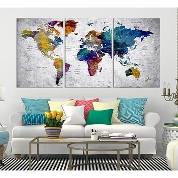 World Map Wall Art World Map Canvas World Map Print World Map Poster World Map Art World Map