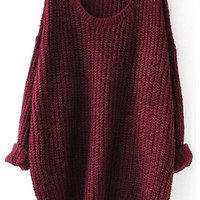Fall Fashion Red Batwing Oversized Long Sleeve Loose Knit Sweater (FREE SHIPPING & FREE RETURNS)