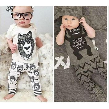New Cotton little monsters short sleeve infant clothes baby clothing sets baby boy clothes