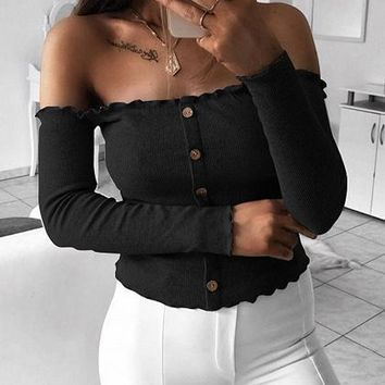 Black Ribbed Off Shoulder Button Placket Front Long Sleeve Sweater