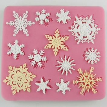 For Fondant Cake Decorating Chocolate Cookie Soap Fimo Polymer Clay Snowflake Shaped Silicone Mold