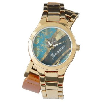 Turquoise and gold damask monogrammed watch