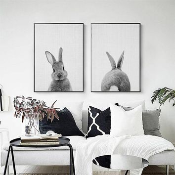 Kawaii Animals Cartoon Canvas Painting Rabbit Posters Prints Nordic Minimalist Nursery Wall Art Picture for Kids Room Home Decor