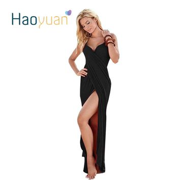HAOYUAN Summer Sexy Maxi Dress  Spaghetti Strap Sundress Elegant Women Bandage Dresses Off Shoulder Boho Long Beach Dress