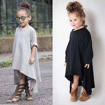 Autumn  New Brand Baby Girls Kid Swing Max Batwing Casual Cotton Full Dress Loose Asymmetric Party Dress