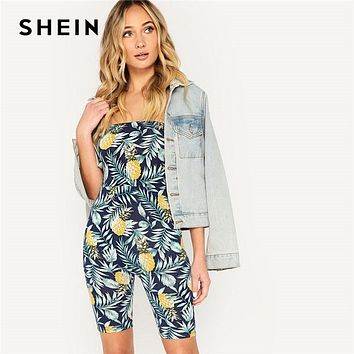 SHEIN Multicolor Boho Pineapple And Tropical Print Fitted Sleeveless Tube Jumpsuit Summer Women Strapless Casual Jumpsuit