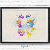 Donald Duck and Daisy Duck Disney, Watercolor Art Poster Print, Baby Nursery Decor, Kids Room Decor, Not Framed, Buy 2 Get 1 Free