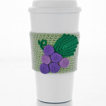 Cluster of grapes, cup cozy, cup sleeve, wine bottle cozy, crochet grapes applique, green sleeve, purple grapes, green leaf, vineyard grapes