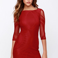 Crush a Lot Wine Red Lace Dress