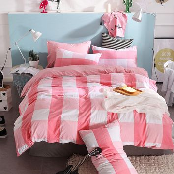 Fashion Red-White Checkered Pattern Comfortable Bedding Set Soft 4pc/ 3pc Bedding Sets  Quality Sheet Quilt Cover Pillow Case