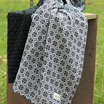 Black and white minky baby blanket
