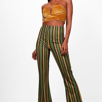 Taylor Bold Contrast Stripe Skinny Flare | Boohoo