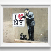 Banksy Print, I Love New York, Street Graffiti Art, I Love NY, Urban Artist, Stencil Art, Street Art, Home Decor, Valentines Day Gift