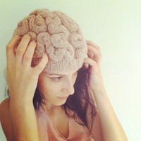 "ANNABANANNA Made to order knitted BRAIN Beanie ""BRAINIE"" hat evil scary weird cap skullcap pink zombie brains halloween"