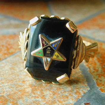 Eastern Star Ring ∙ Clark & Coombs ∙ 14K Rolled Gold Plated ∙ Size 7 ∙ Vintage Masonic Jewelry ∙ OES