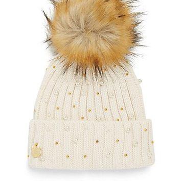 Betsey Johnson Faux Fur Pompom Beanie Ivory Hat