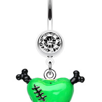 Vibrant Heart Crossbones Belly Button Ring