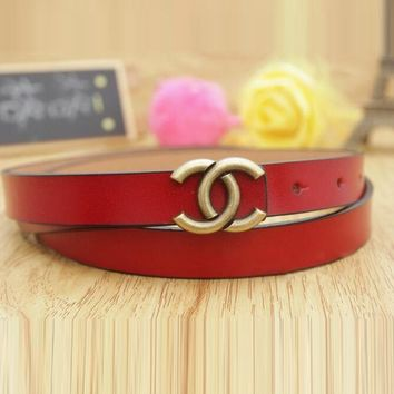 Hot Sale Woman Men Casual Smooth Buckle Leather Belt Red