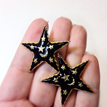 Black Star Earrings Gold Tone Moon 1980s Fashion Clip On