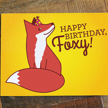 Foxy Birthday Card - card for boyfriend, girlfriend, husband or wife, cute fox, birthday love card, happy birthday foxy, significant other