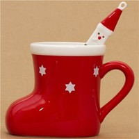 red Christmas boot cup with Santa Claus spoon - Cups-Mugs - Bento Boxes