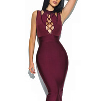 Safaa Lace Up Sheer Detail Bandage Dress