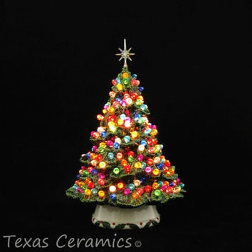 Shenandoah Pine Tree Ceramic Christmas Tree 10 Inch Tall with Round Jewel Color Globe Lights