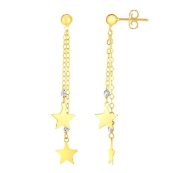 14K Yellow And White Gold Hanging Stars Drop Earrings