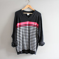 Adidas Sweater Black Stripes Cotton Sweater Adidas Black Pullover Slouchy Sweater V-neck Unisex Knit Oversize Vintage 90s Size L - XL