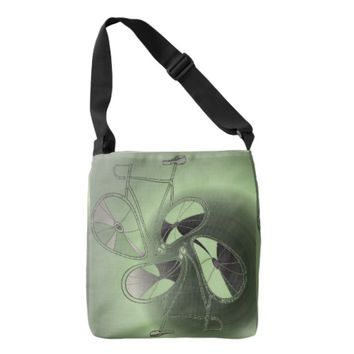 Green Abstract Whimsical Bicycle Crossbody Bag