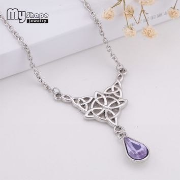 My Shape Triqueta Crystal Tear Drop Necklace Crystal Stone Charms Irish knot Wicca Chain Choker for Women Jewelry