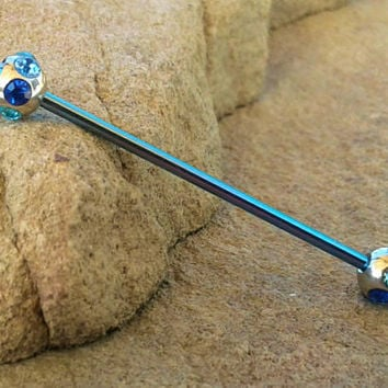 Blue Rhinestone Industrial Barbell 14ga Surgical Stainless Steel Body Jewelry Ear Bar
