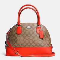 New COACH f33904 Cora Domed Satchel In Signature Handbag Purse Shoulde Bag Khaki/Orang