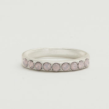 Pave Worn Rhodium Ring - Opal Rose