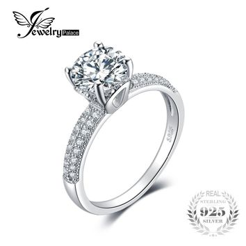 Genuine 925 Sterling Silver Ring Luxury large main Stone Fashion Zirconia Simple Wedding Engagement Rings For Women Fine Jewelry