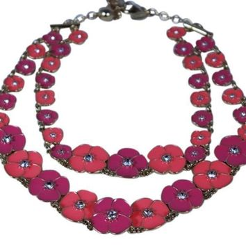 Kate Spade New York Necklace Pink/Purple Flutter Floral Double Strand