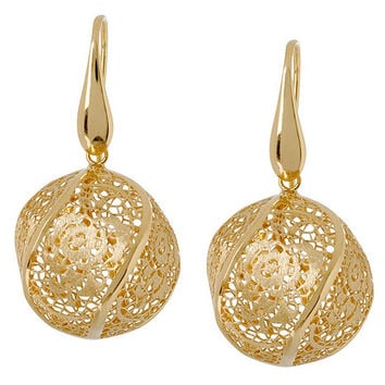 Arte d'Oro Floral Lace Bead Dangle Earrings, 18K Gold — QVC.com