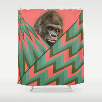 Peeking Gorilla on Pink and Green Chevron Shower Curtain by tsuttles